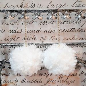 Snow White Handmade Pom Pom Earrings